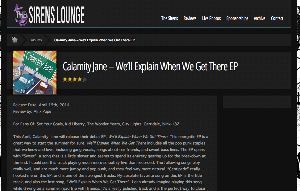 The Sirens Lounge Calamity Jane