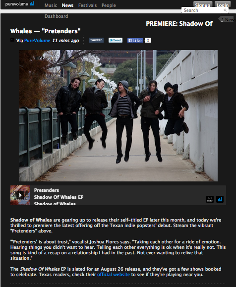 Purevolume Shadow Of Whales Premiere